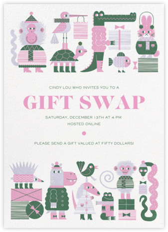 Gift Swap - Mauve - Paperless Post - Holiday invitations