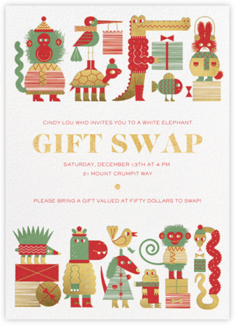 Gift Swap - Gold - Paperless Post - Holiday party invitations