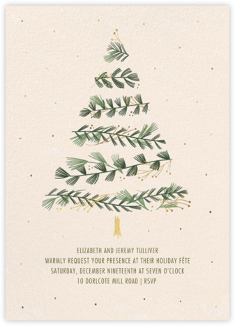 Gold Sprigs - Paperless Post - Holiday party invitations