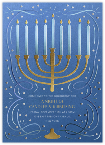 Gold Menorah - Antwerp - Paperless Post - Hanukkah Invitations