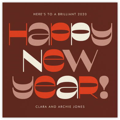 Groovy New Year's - Maroon - Paperless Post - Holiday cards