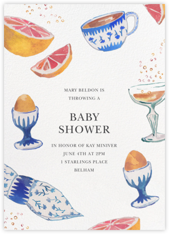 Brunch and Bubbles - Happy Menocal - Baby shower invitations