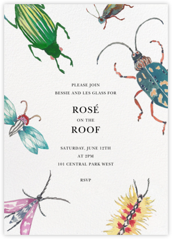 Beetle Bash - White - Happy Menocal - Summer Party Invitations