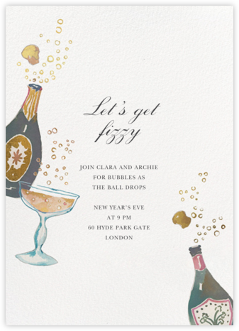Busy Gettin' Fizzy - Happy Menocal - New Year's Eve Invitations