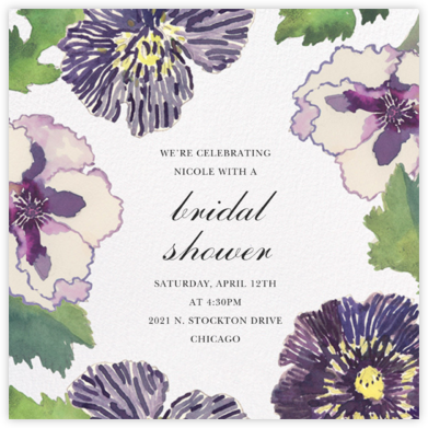 Fancy Pansies - Happy Menocal - Bridal shower invitations