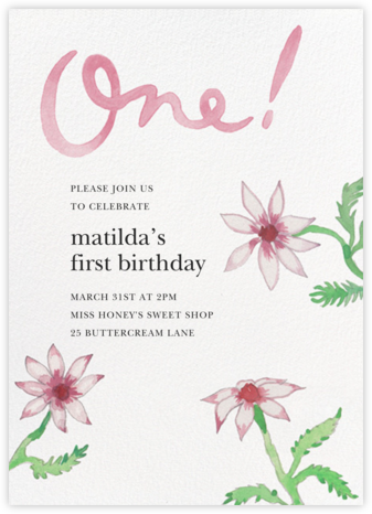 Birthday Daisies - Happy Menocal - First Birthday Invitations