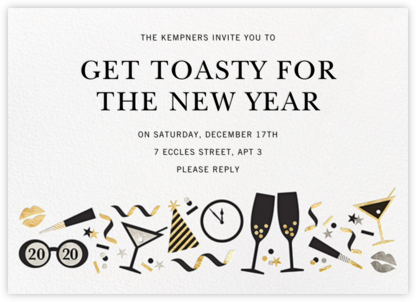 Ring It In (Horizontal) - Metallic - Jonathan Adler - New Year's Eve Invitations
