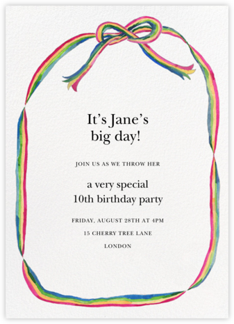 Rainbow Ribbon - Happy Menocal - Online Kids' Birthday Invitations