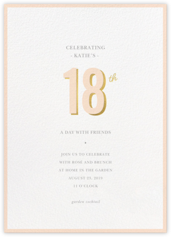 Pop of Gold - 18 - Sugar Paper - Milestone Birthday Invitations