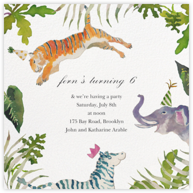 Tiger Leap - Happy Menocal - Birthday invitations