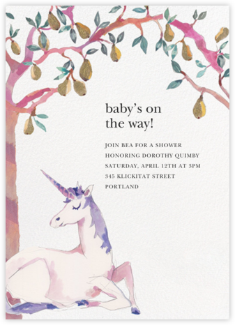 Unicorn Landing - Happy Menocal - Woodland Baby Shower Invitations