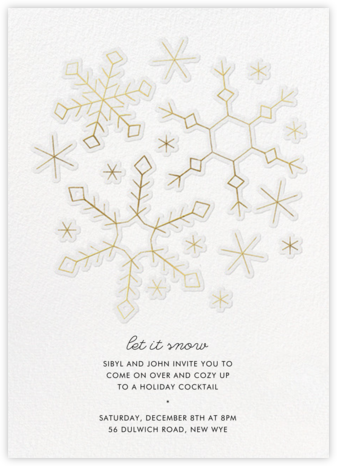 Gold Snowflakes - Paperless Post - Winter Party Invitations
