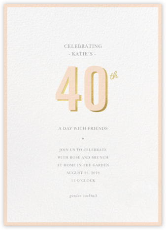 Pop of Gold - 40 - Sugar Paper - Adult Birthday Invitations