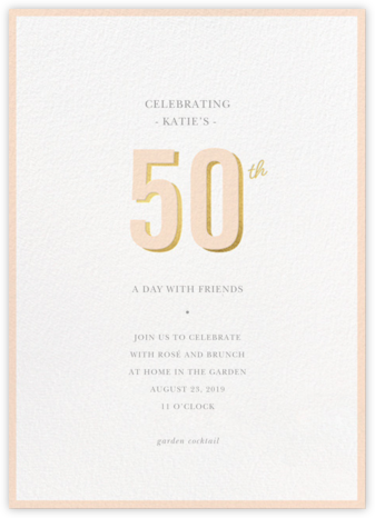 Pop of Gold - 50 - Sugar Paper - Adult birthday invitations