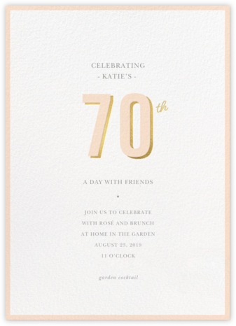 Pop of Gold - 70 - Sugar Paper - Adult Birthday Invitations