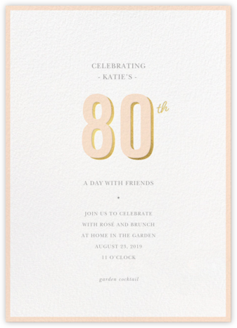 Pop of Gold - 80 - Sugar Paper - Adult birthday invitations