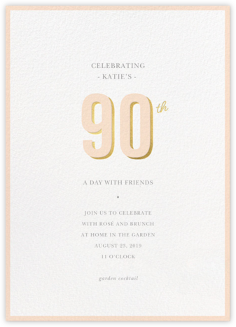 Pop of Gold - 90 - Sugar Paper - Milestone birthday invitations