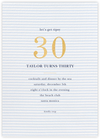 Simple Seersucker - Tundra - Sugar Paper - Milestone birthday invitations