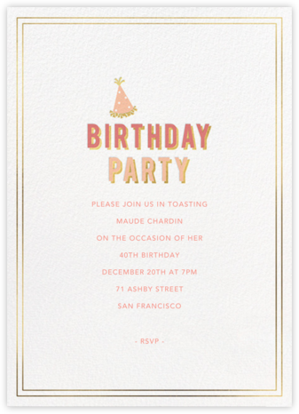 Gold Shadow - Sherbet - Sugar Paper - Adult Birthday Invitations