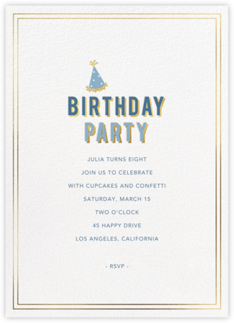 Gold Shadow - Cadet - Sugar Paper - Online Kids' Birthday Invitations