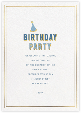 Gold Shadow - Cadet - Sugar Paper - Adult Birthday Invitations