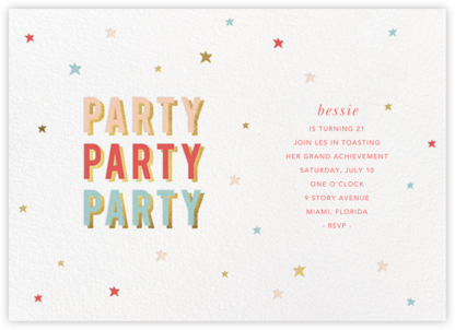 Third Party - Sugar Paper - Adult birthday invitations