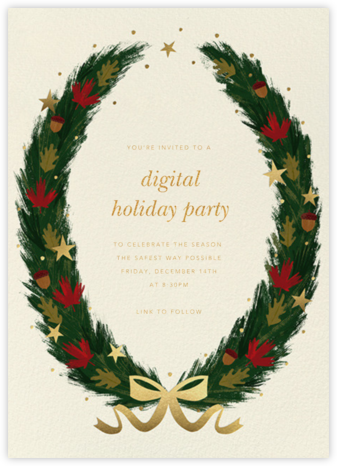 Maple Wreath - Cream - Paperless Post - Holiday invitations