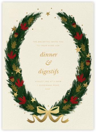 Maple Wreath - Cream - Paperless Post - Winter Party Invitations