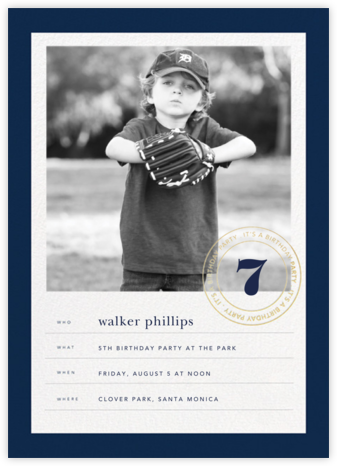 Stamped Birthday - Dark Blue - Sugar Paper - Online Kids' Birthday Invitations