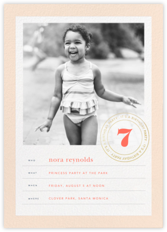 Stamped Birthday - Bellini - Sugar Paper - Kids' Birthday Invitations