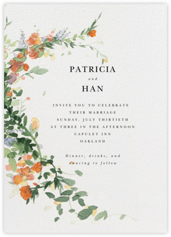 Watercolor Garland (Invitation) - Topaz - Paperless Post - Wedding Invitations