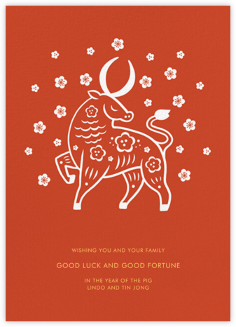 Cherry Blossom Ox (Greeting) - Paperless Post - Lunar New Year Cards