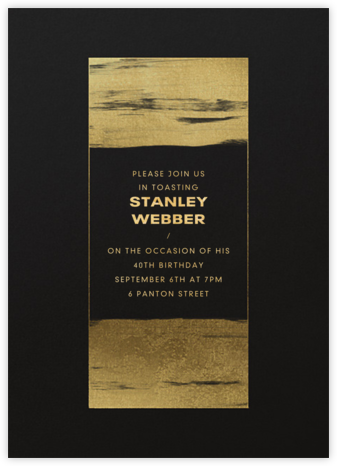 Gold Brushstroke - Paperless Post - Adult birthday invitations