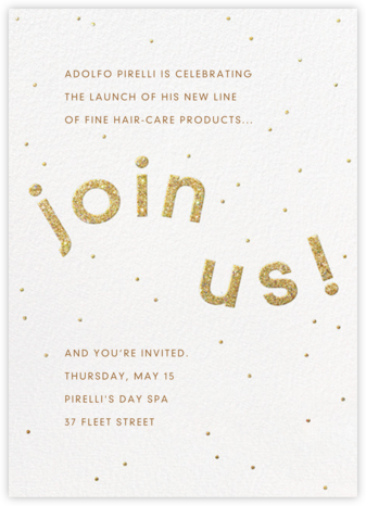 Winding Glitter - White - Paperless Post - Launch Party Invitations