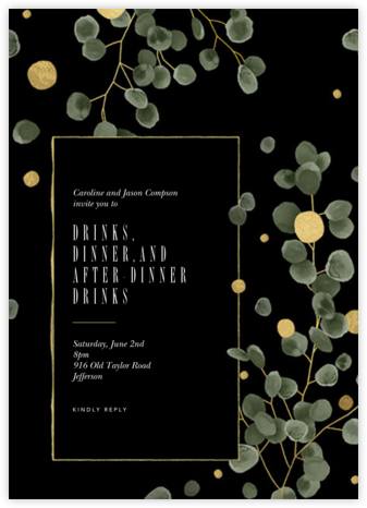 Golden Eucalyptus  - Paperless Post - Winter entertaining invitations
