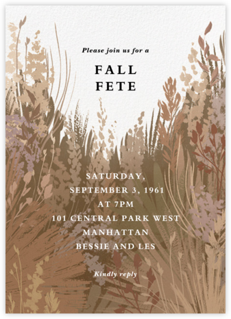 Pampas Grass - Paperless Post - Fall Entertaining Invitations