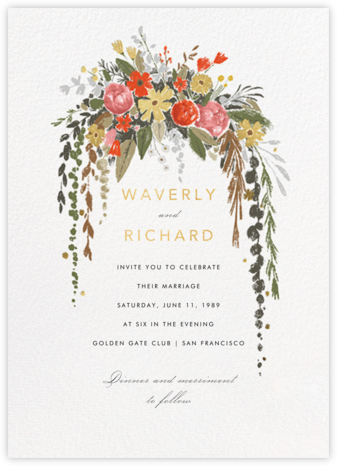 Dripping Floral (Invitation) - Greenwood - Paperless Post - Wedding invitations