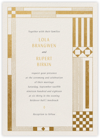 Deco Asymmetry - Gold (Invitation) - Paperless Post - Wedding Invitations
