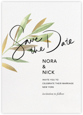 Watercolor Leaf - Paperless Post - Save the dates