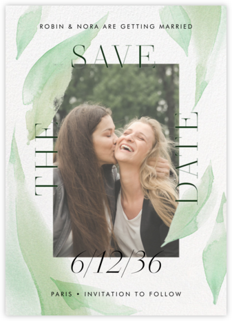 Fresh Leaves - Mint - Paperless Post - Photo save the dates