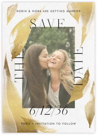 Fresh Leaves - Gold - Paperless Post - Photo save the dates