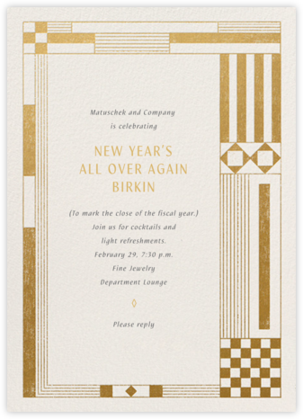 Deco Asymmetry - Gold - Paperless Post - Reception invitations