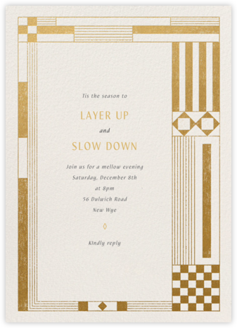 Deco Asymmetry - Gold - Paperless Post - Winter Party Invitations
