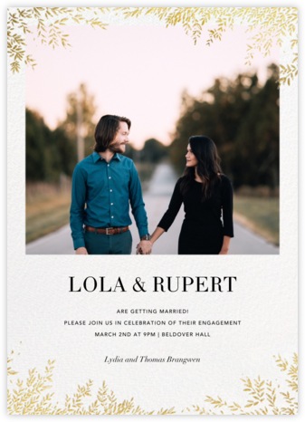 Leaves of Gold  - Paperless Post - Engagement party invitations