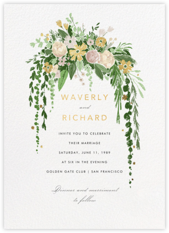 Dripping Floral (Invitation) - Moss - Paperless Post - Wedding Invitations