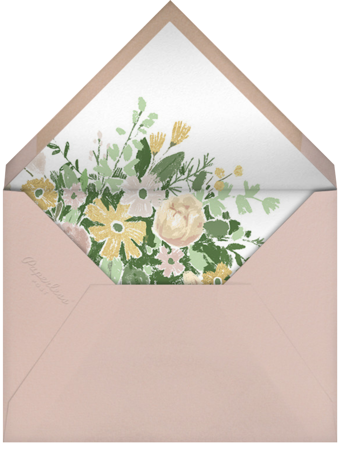 Dripping Floral - Moss - Paperless Post - Save the date - envelope back