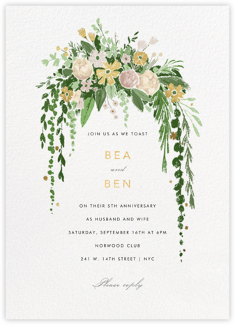 Dripping Floral - Moss - Paperless Post - Celebration invitations