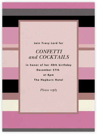Stripe Hype - Mauve - kate spade new york - Adult Birthday Invitations