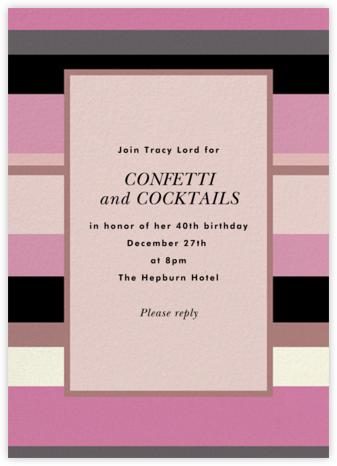 Stripe Hype - Mauve - kate spade new york - Adult Birthday Invitations