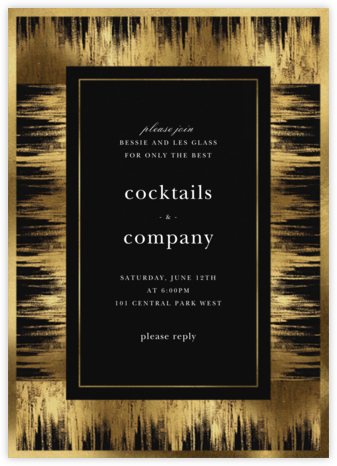 Brushed Gold - Oscar de la Renta - Winter Party Invitations